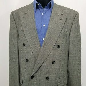 Burberrys' Suit Glen Plaid Double Breasted